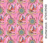 design gift wrapping paper ... | Shutterstock .eps vector #670419040
