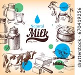 hand drawn sketch milk products ... | Shutterstock .eps vector #670419256