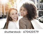 girlfriends in manhattan doing... | Shutterstock . vector #670420579