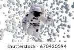 astronaut flying between... | Shutterstock . vector #670420594
