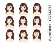 actions face woman vector. | Shutterstock .eps vector #670423789