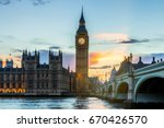big ben and westminster bridge... | Shutterstock . vector #670426570