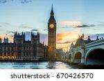 big ben and westminster bridge... | Shutterstock . vector #670426570