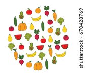 set of fruits and vegetables.... | Shutterstock .eps vector #670428769