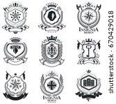 heraldic coat of arms  vintage...   Shutterstock .eps vector #670429018