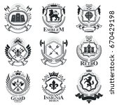 vintage decorative emblems... | Shutterstock .eps vector #670429198