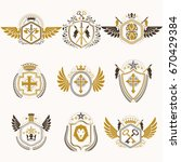 heraldic decorative emblems... | Shutterstock .eps vector #670429384