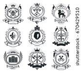 vintage decorative emblems... | Shutterstock .eps vector #670429510