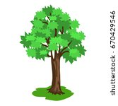 green tree with broad brunches...   Shutterstock .eps vector #670429546