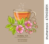 Cup Of Dog Rose Tea On Color...