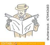 man is reading a newspaper.... | Shutterstock .eps vector #670442683