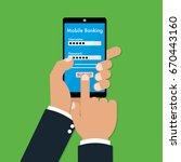 human hands using mobile...   Shutterstock .eps vector #670443160