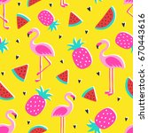vector tropical patternwith... | Shutterstock .eps vector #670443616