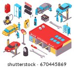 auto service isometric icons...   Shutterstock .eps vector #670445869