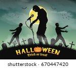 halloween zombie singing party...   Shutterstock .eps vector #670447420