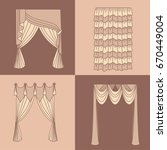curtains and draperies...   Shutterstock .eps vector #670449004