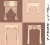 curtains and draperies...   Shutterstock .eps vector #670449010