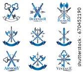 vintage weapon emblems set.... | Shutterstock .eps vector #670452190