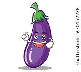 enthusiastic eggplant character ... | Shutterstock .eps vector #670452238