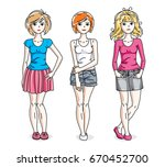 happy young adult girls group... | Shutterstock .eps vector #670452700