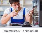 computer repairman repairing...   Shutterstock . vector #670452850