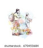 watercolor sketch of walking... | Shutterstock .eps vector #670453684