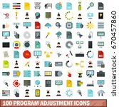 100 program adjustment icons... | Shutterstock .eps vector #670457860
