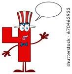 happy patriotic red number four ... | Shutterstock . vector #670462933