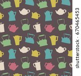 pattern with different teapots. ... | Shutterstock .eps vector #670465453