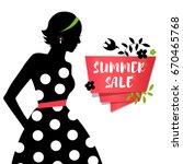 beauty girl silhouette in retro ... | Shutterstock .eps vector #670465768