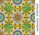mandala flower coloring book... | Shutterstock .eps vector #670474669