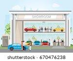 modern car dealership showroom... | Shutterstock .eps vector #670476238