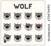 emoticons set face of wolf in... | Shutterstock .eps vector #670476490