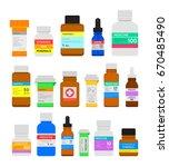 medicine bottles flat set.... | Shutterstock .eps vector #670485490