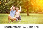 couple with insurance and... | Shutterstock . vector #670485778