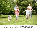 happy family with two children... | Shutterstock . vector #670486450
