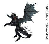 3d rendering of a black dragon... | Shutterstock . vector #670488358