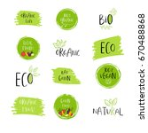 collection of vector eco  bio... | Shutterstock .eps vector #670488868