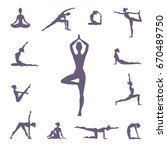 set of different yoga poses ... | Shutterstock .eps vector #670489750