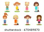 girls gardeners on the white... | Shutterstock .eps vector #670489870