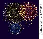 realistic fireworks  stars ...   Shutterstock .eps vector #670493890