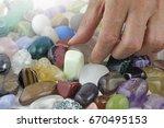 close up of crystal healer...   Shutterstock . vector #670495153