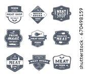 meat shop   vector set of... | Shutterstock .eps vector #670498159