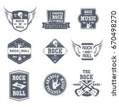 rock music   vector set of... | Shutterstock .eps vector #670498270