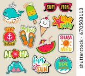 set of fashion patches  cute... | Shutterstock .eps vector #670508113
