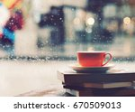 coffee cup in front of mirror... | Shutterstock . vector #670509013