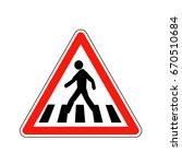 france pedestrian crossing sign | Shutterstock .eps vector #670510684