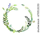 a watercolor wreath made of... | Shutterstock . vector #670513153