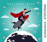 businessman flying on a rocket... | Shutterstock .eps vector #670519060