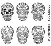 set of hand drawn sugar skulls. ... | Shutterstock .eps vector #670520320